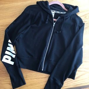 PINK Full Zippered Hoodie, Size L, Classic Black